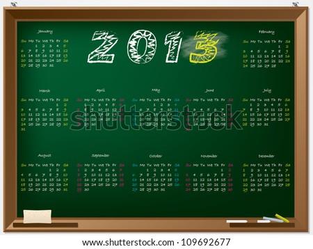 2013 calendar hand drawn on chalkboard - stock vector