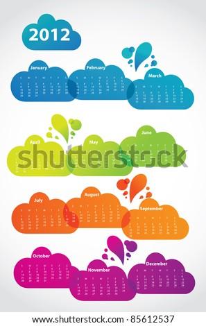 2012 calendar in lava clouds, vector - stock vector
