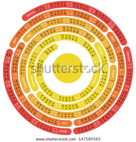 2014 calendar  in the shape of circular maze on white background - stock vector