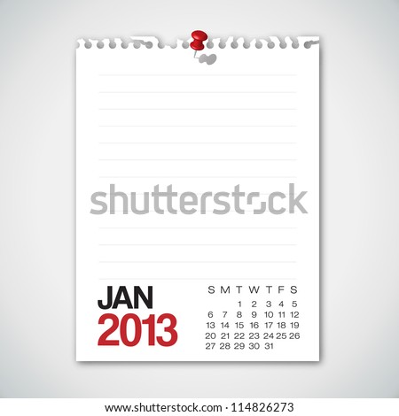 2013 Calendar January Old Torn Paper Vector - stock vector
