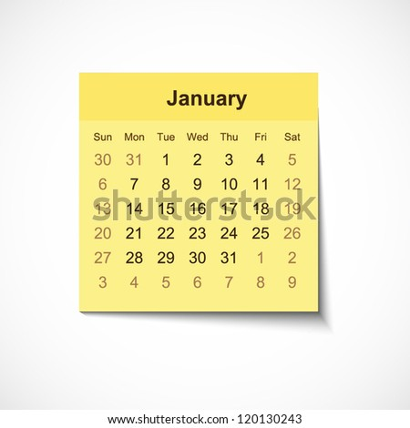 2013 Calendar January on realistic yellow paper sticker with shadow for your business website - stock vector