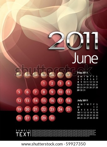 2011 Calendar June - stock vector