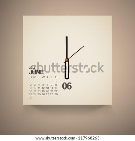 2013 Calendar June Clock Design Vector - stock vector