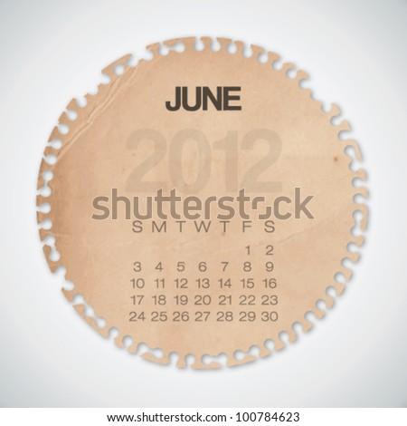 2012 Calendar June Old Circle Torn Paper Vector - stock vector