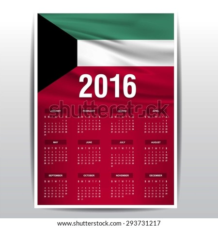 2016 Calendar - Kuwait Country Flag Banner - Happy new Year calendar template - Week starts with Sunday - Vector illustration - stock vector