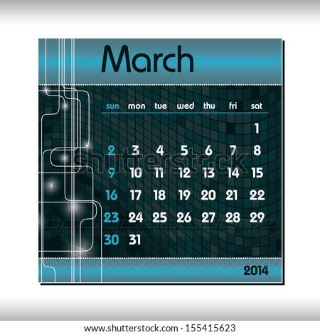 2014 Calendar. March. - stock vector