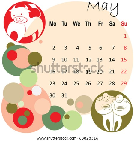 2011 calendar may with zodiac signs - stock vector