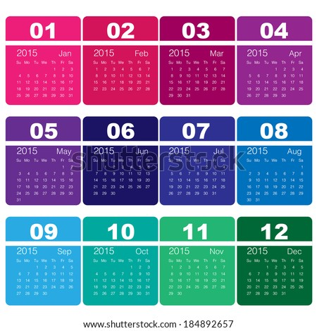 2015 calendar Minimal Design  - stock vector