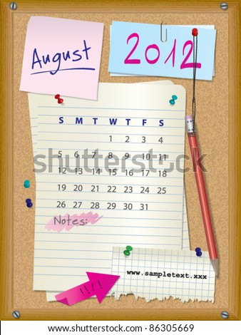 2012 calendar - month August - cork board with notes --> 2013 CALENDAR ALSO AVAILABLE IN MY PORTFOLIO - stock vector