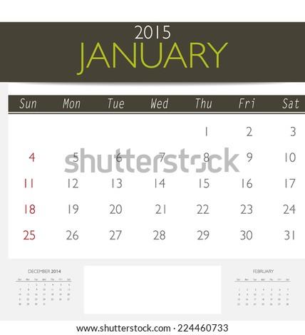 2015 calendar, monthly calendar template for January. Vector illustration. - stock vector