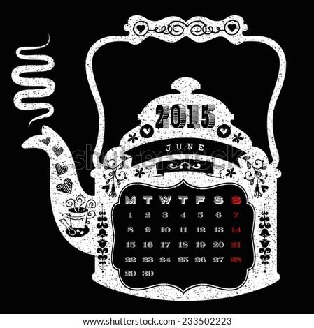 2015 calendar, monthly calendar template for June. Vector illustration.  Coffee pot shaped Calendar. - stock vector