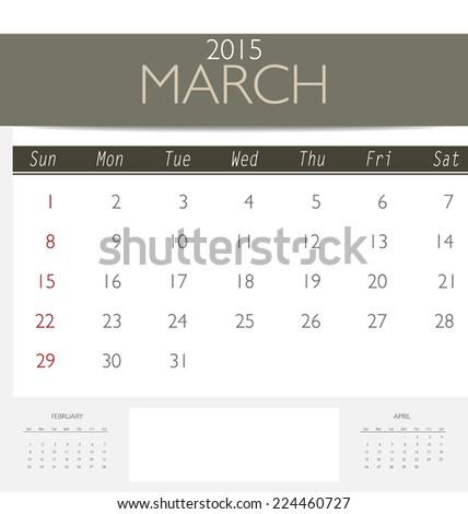 2015 calendar, monthly calendar template for March. Vector illustration. - stock vector