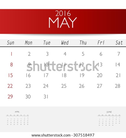 2016 calendar, monthly calendar template for May. Vector illustration. - stock vector