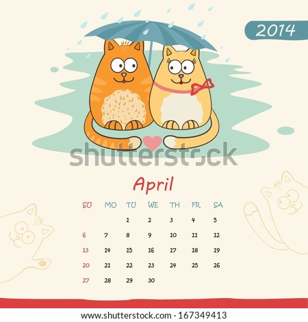 2014 calendar, monthly calendar template with cats for April. Vector  - stock vector