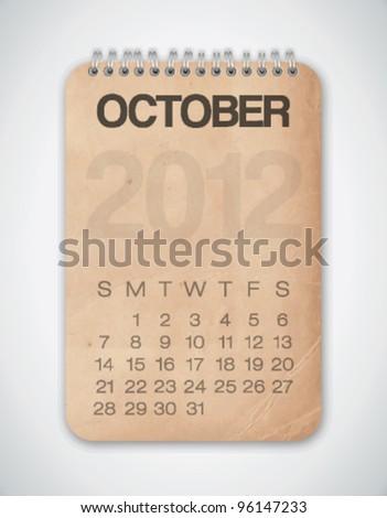 2012 Calendar October Grunge Texture Notebook Vector - stock vector
