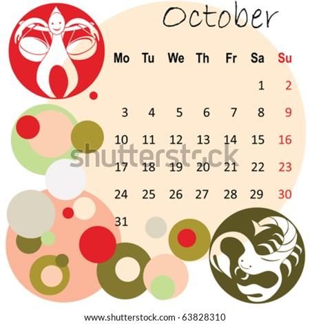 2011 calendar october with zodiac signs - stock vector