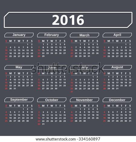 2016 Calendar on dark background, vector eps10 illustration - stock vector