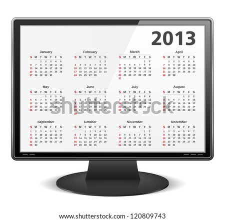2013 calendar on the screen of computer monitor, vector eps10 illustration - stock vector