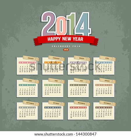 2014 Calendar paper design, Vector illustration - stock vector