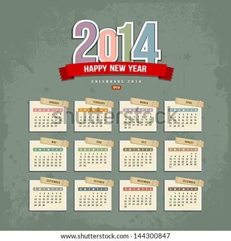 2014 Calendar paper design, Vector illustration - stock vector