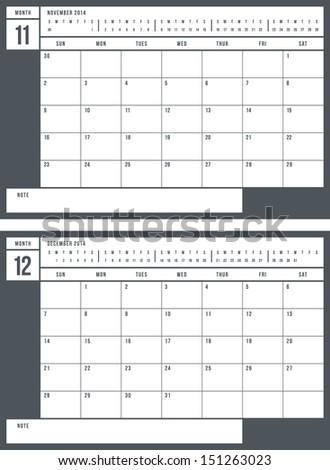 2014 calendar, part 6 of 6 - stock vector
