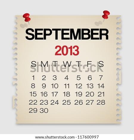 2013 Calendar September Old Torn Paper Vector - stock vector