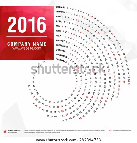 2016 calendar, spiral illustration, swiral shape, Red polygonal background calendar cover template - stock vector