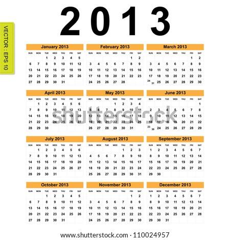 2013 Calendar vector - stock vector