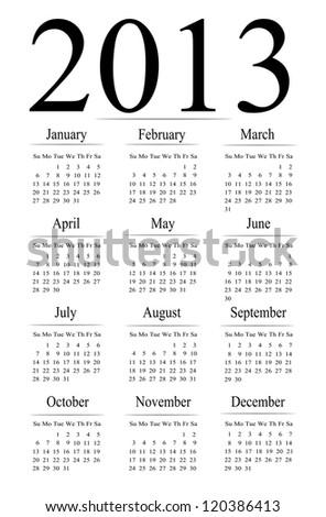2013 calendar vector. - stock vector