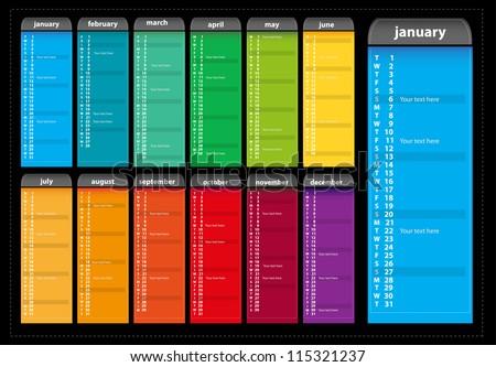 2013 calendar (vector)  digital calendar - stock vector