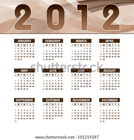 2012 Calendar. Vector Eps10. - stock vector
