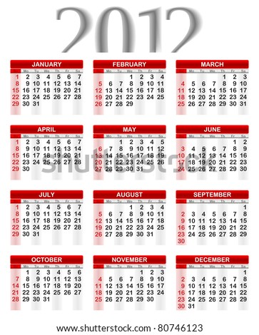 2012 Calendar, Week starts on Sunday. - stock vector