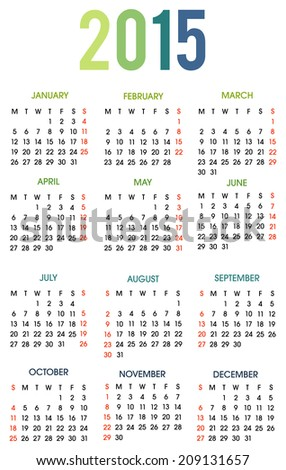 2015 Calendar. Weeks start with Monday. Colorful vector illustration on white background. Easy to edit. - stock vector