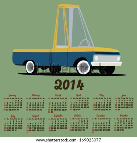 2014 calendar with a cartoon car - stock vector