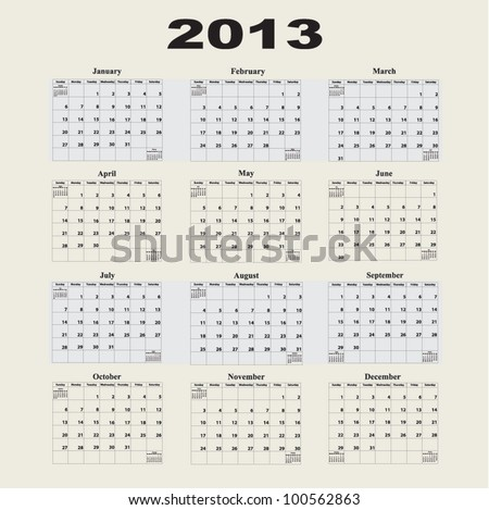2013 Calendar with a Monday start day. - stock vector