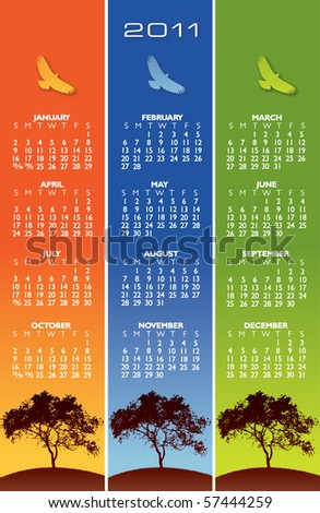 2011 calendar with birds and space for text - stock vector