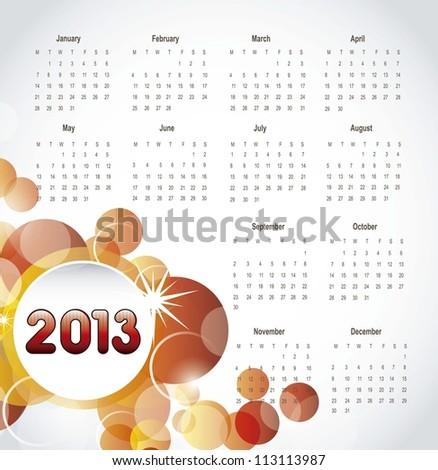 2013 calendar with orange circles, background. vector illustration - stock vector