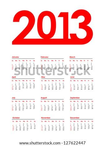 2013 calendar with special design - stock vector