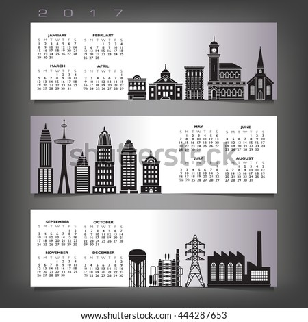 2017 calendar with three building banners  - stock vector