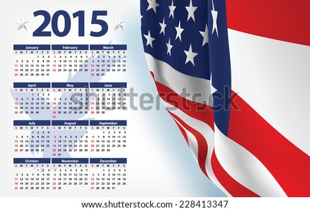 2015 calendar with USA flag Eagle - stock vector
