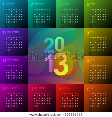 2013 calendar with vibrant colors - week starts with sunday - stock vector
