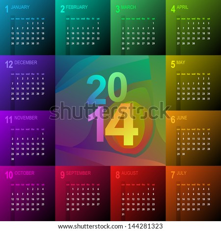 2014 calendar with vibrant colors - week starts with sunday - stock vector