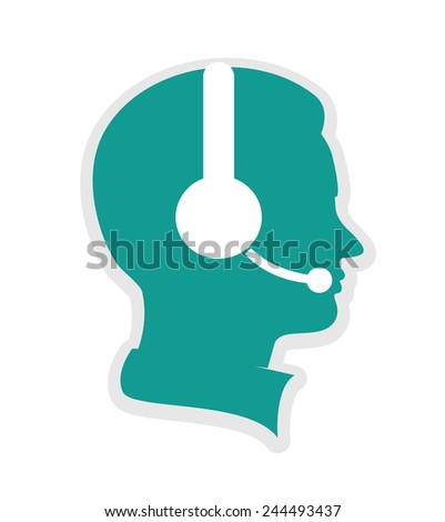 call center icon executive on white background - stock vector