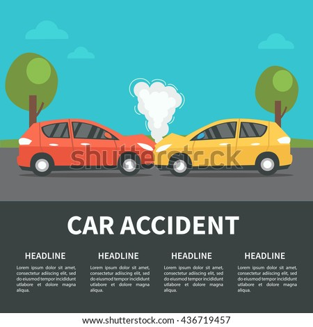 Car accident concept illustration. Vector infographic template. - stock vector