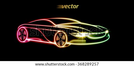 Car logo design. Car in the form of the luminous lines silhouette. eps10. - stock vector