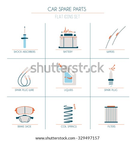 9 car parts flat icons 1 of 2 with orange, blue and light grey fill - stock vector