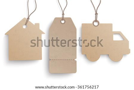 3 cardboard hanging price stickers on the white background.  Eps 10 vector file. - stock vector
