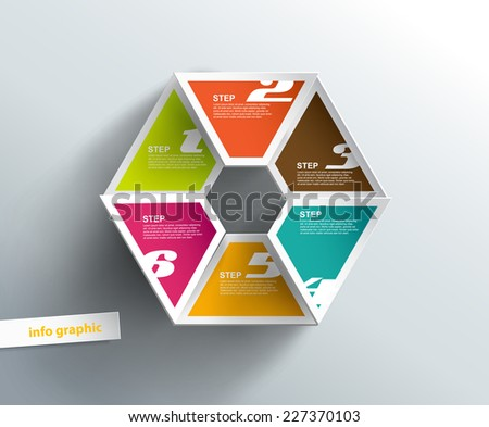 6 cards with numbers and place for your text. - stock vector