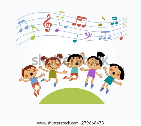 Cartoon children jumping and musical notes. Modern colorful design. Children who are jumping and singing - stock vector