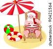 Cartoon  Santa Claus relaxing on the beach - stock vector
